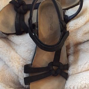 Black Leather Teva Sandals